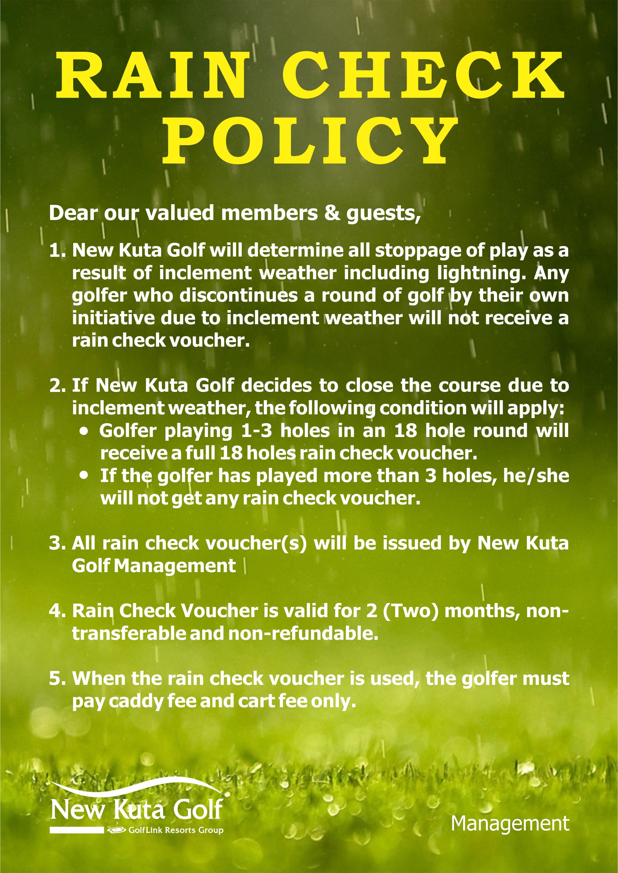 Rain Check Policy